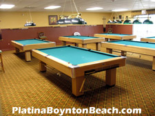 Got the urge to shoot some pool? This billiards room is located upstairs at the clubhouse.