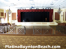 A wide variety of musical and theatrical acts are booked to perform at the Platina theater - one of the liveliest venues in Boynton Beach. Note the dance floor in front of the stage.